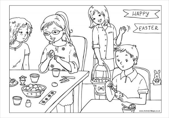 decorating easter eggs colouring page free pdf download