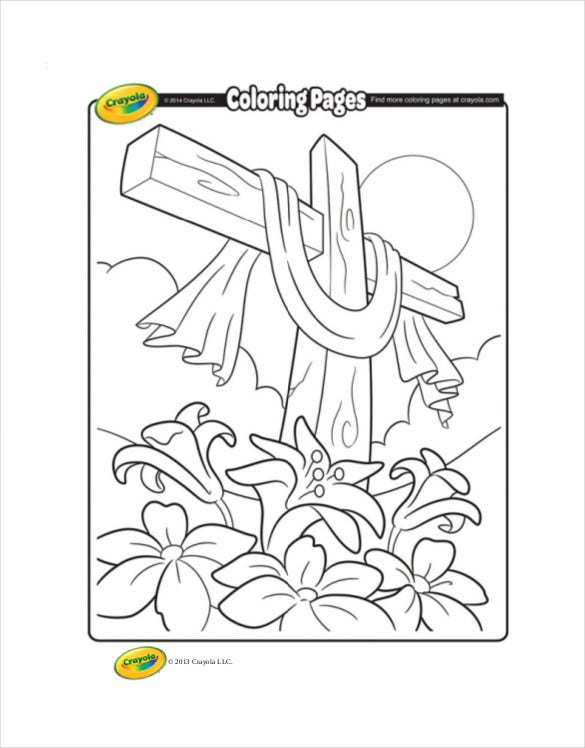 free pdf easter cross coloring page crayola download