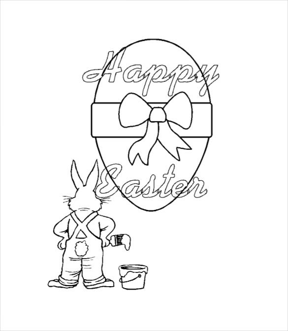 pdf free download coloring page of easter bunny artist
