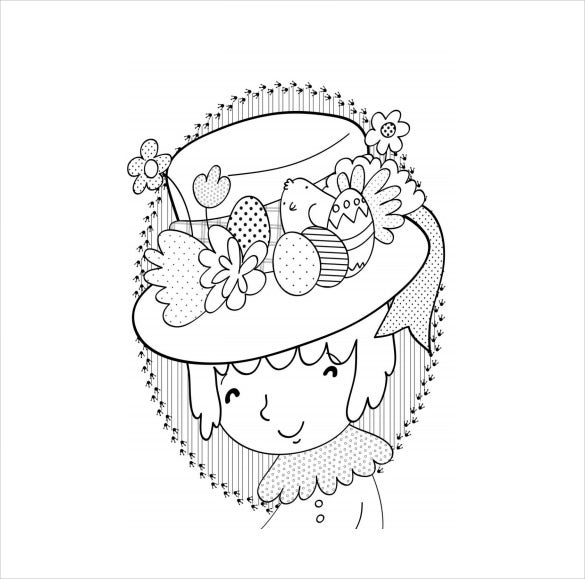 free pdf easter bonnet colouring page download