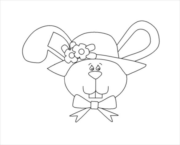 Easter Bunny Face Free Coloring Page Download Coloringws