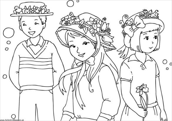 easter ponnet parade colouring page free download