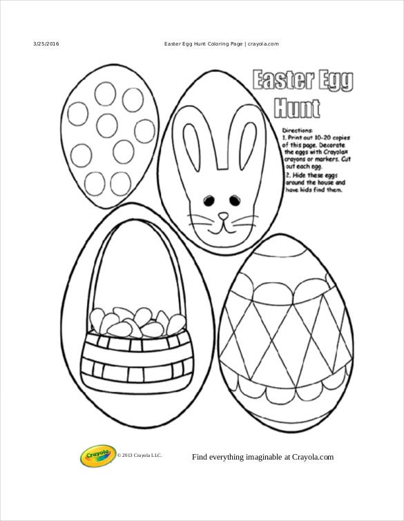 easter egg hunt free pdf download coloring page crayola