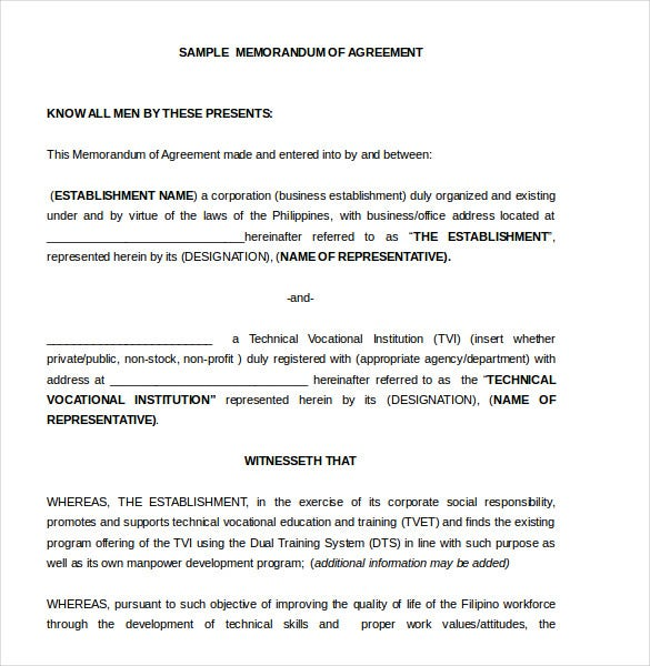 Memorandum of Agreement Template 10 Free Word PDF Document – Contract Template Between Two Parties