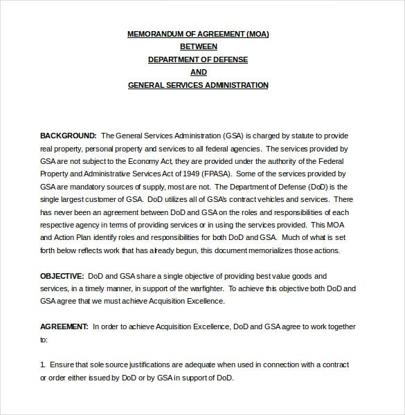 Memorandum of Agreement Template 10 Free Word PDF Document – Agreement Template Word