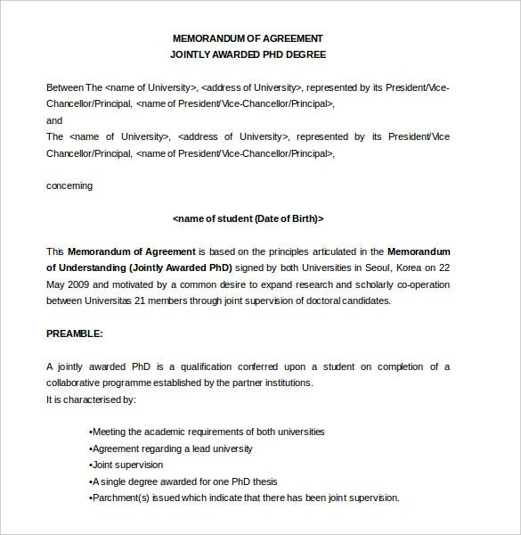 memorandum of agreement jointly awarded phd degree