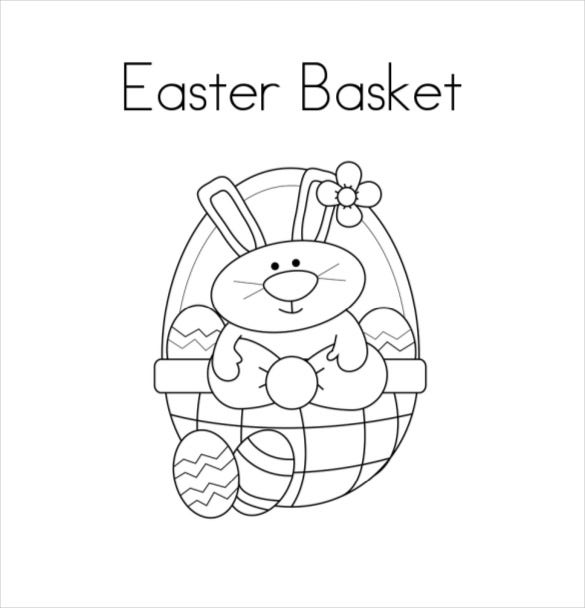easter basket coloring page free download