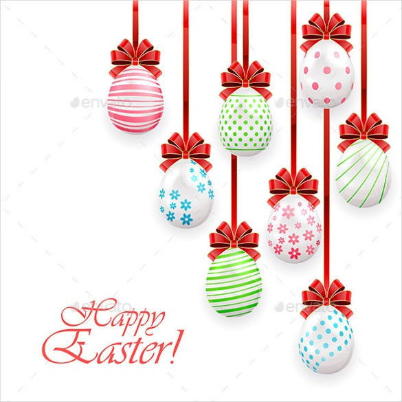easter eggs with red bow on white background