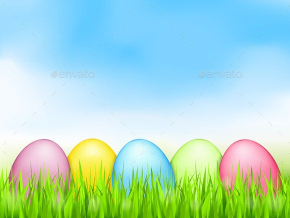 colored easter eggs in grass