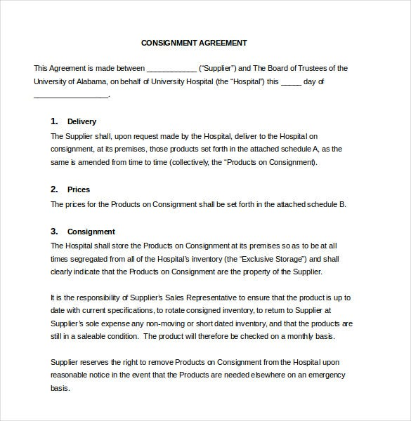 13 Consignment Agreement Templates Word Pdf Free Premium