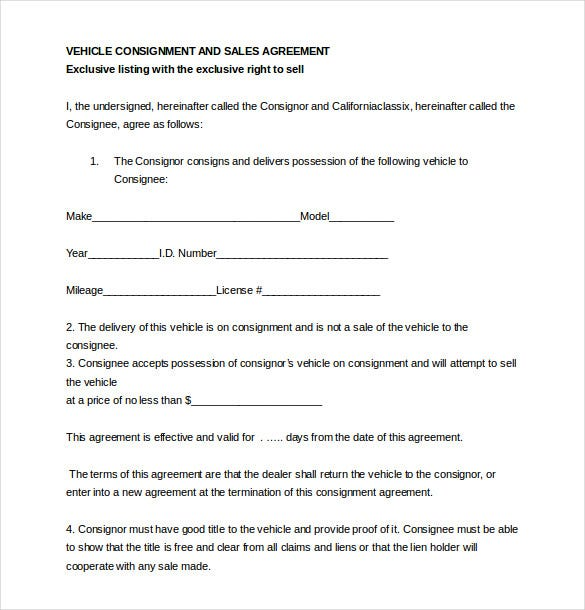 Auto Dealer Consignment Agreement Template Word Document  Free Consignment Agreement