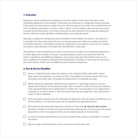 consignment agreement guide template