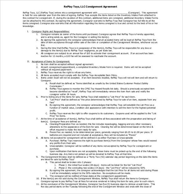 Consignment Agreement Template   Free Word Pdf Document