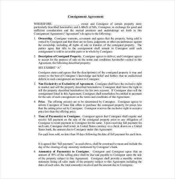 Consignment Agreement Template – 12+ Free Word, Pdf Document