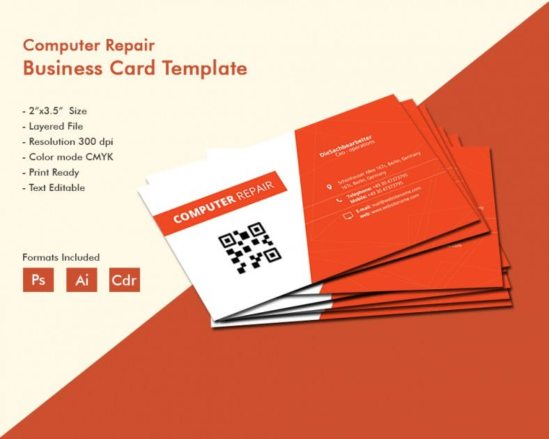 Creative Computer Repair Business Card Template | Free & Premium ...