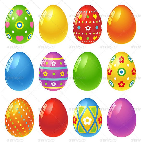 set of colorful easter eggs - Easter Egg Printables