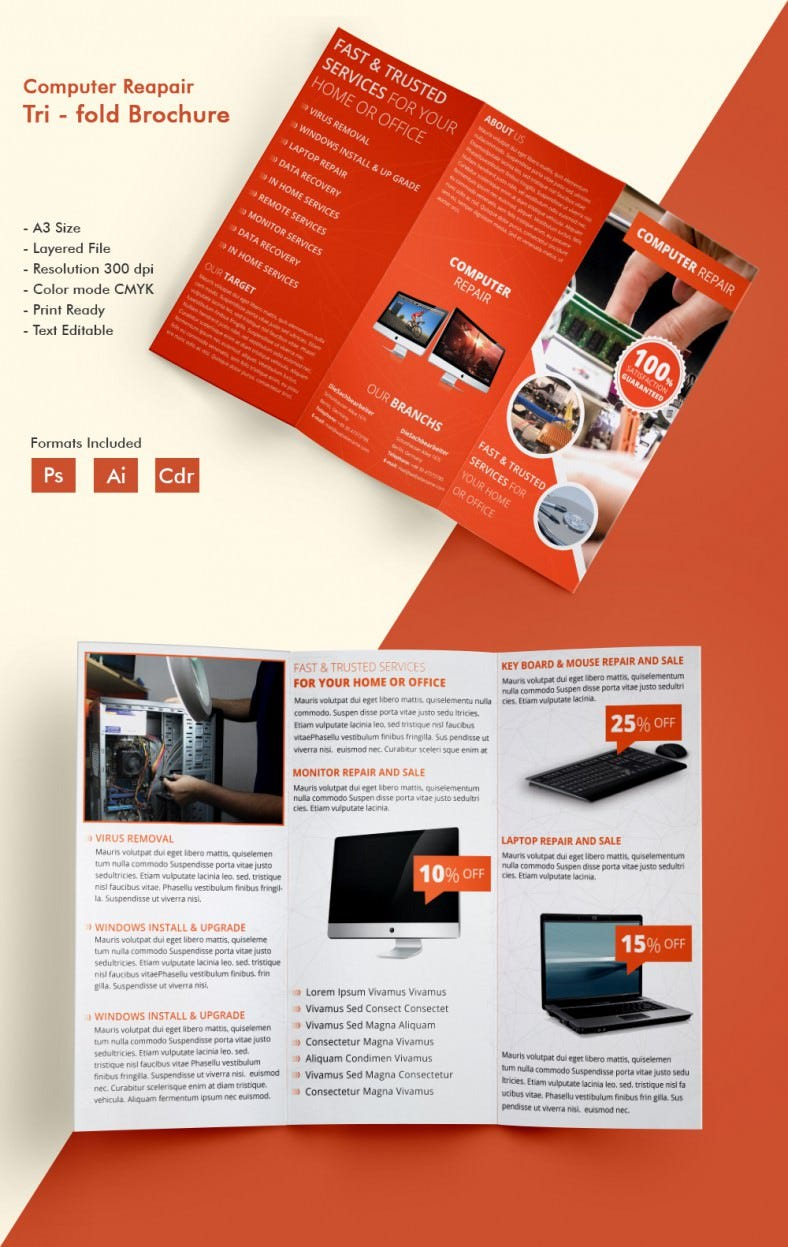 Beautiful Computer Repair A Tri Fold Brochure Template Free - Sales brochure template