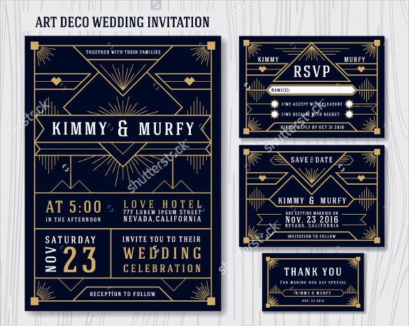 geometric art deco wedding invitation design template