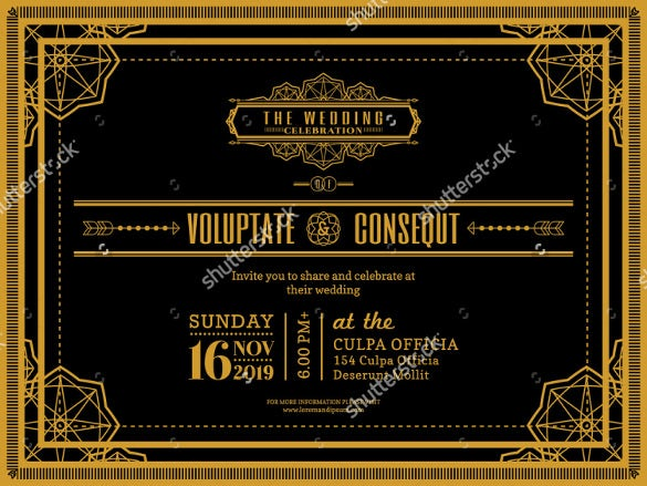 vintage wedding invitation card border geometric