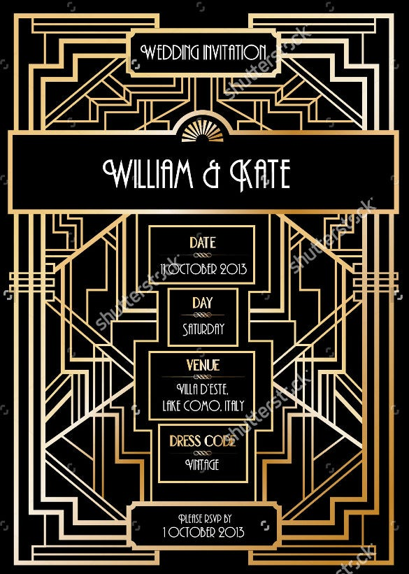 art deco geometric wedding invitation card template