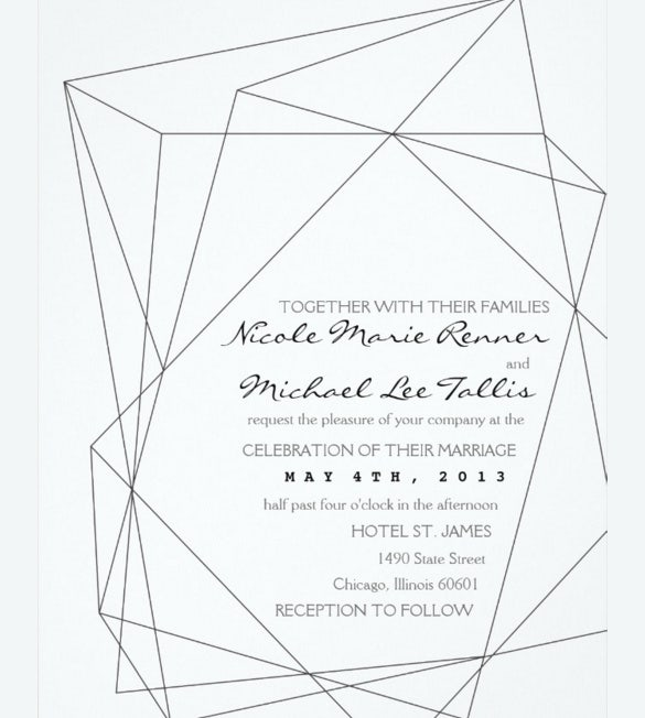 geometric gemstone wedding invitation example download