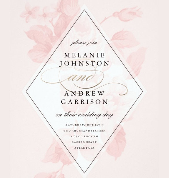 vintage floral geometroc wedding invitation download