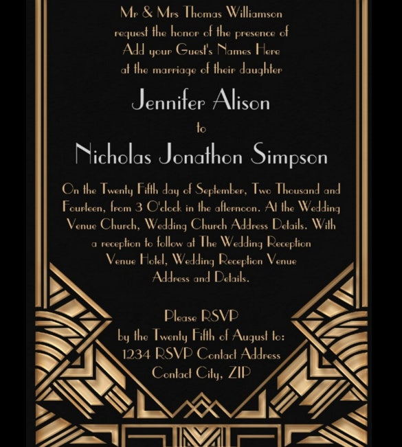 geometric art deco gatsby style wedding invitation