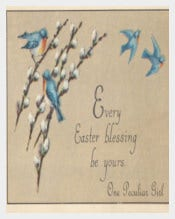 Antique Easter Postcard of Blue Birds Flying Template