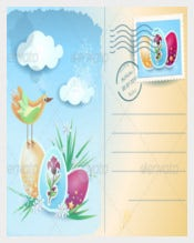 Easter Postcard Vector EPS Template