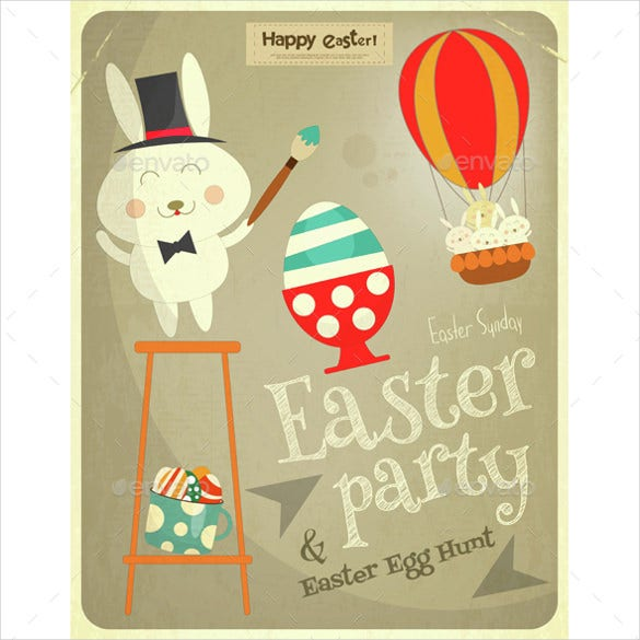 easter party invitation with easter bunny