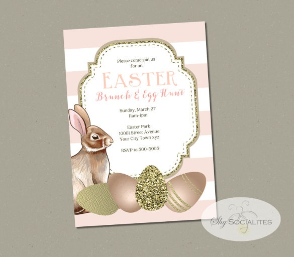 blush and gold easter invitation