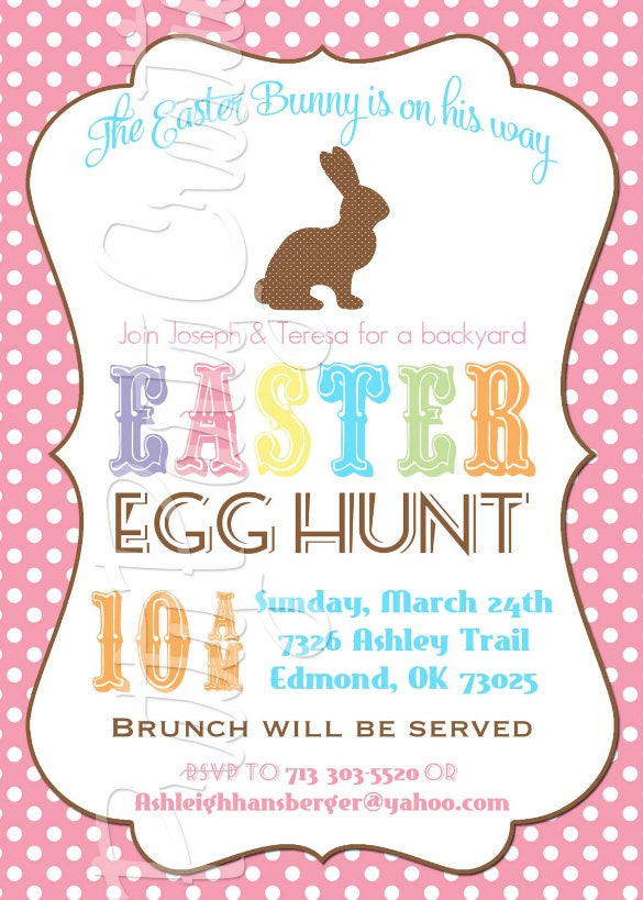 Bunny Silhouette Easter Invitation