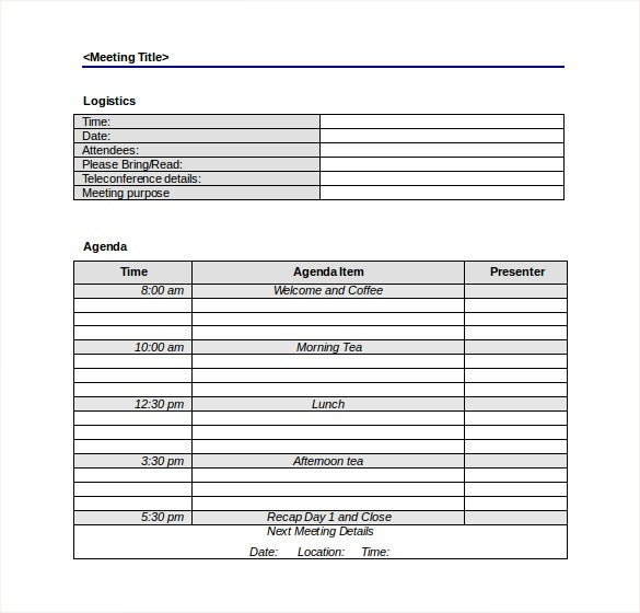 Exceptional Full Day Meeting Agenda Template Free Download Intended For Blank Meeting Agenda Template