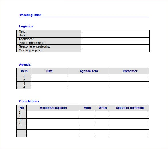 meeting notes template with action items free minutes for excel