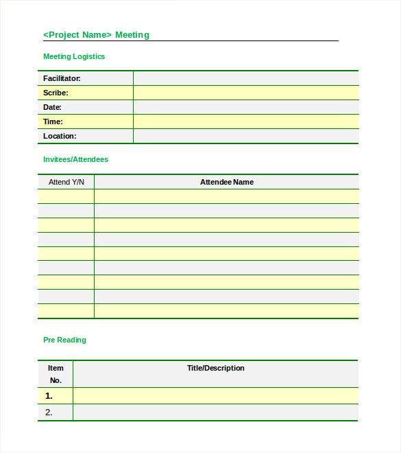 Meeting Agenda Minutes Formal Template