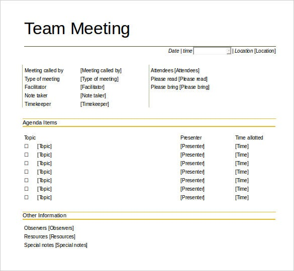 Team Meeting Agenda Team Meeting Agenda Template Free