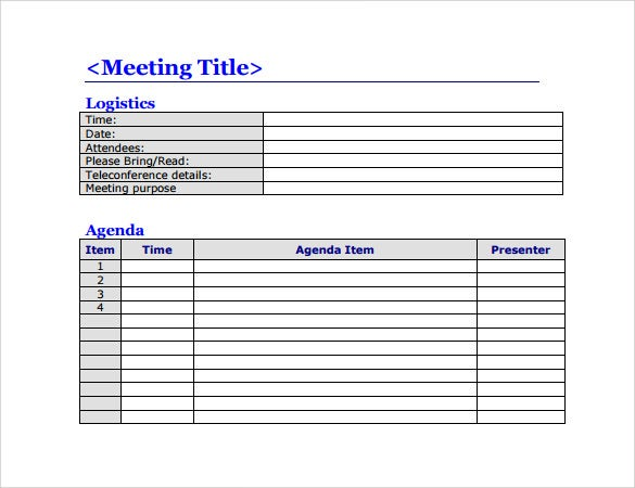 Simple Meeting Agenda Template PDF Format Printable