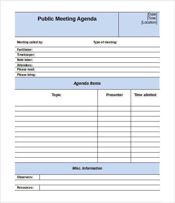 Meeting Agenda Template 46 Free Word PDF Documents Download – Agenda Templates Free