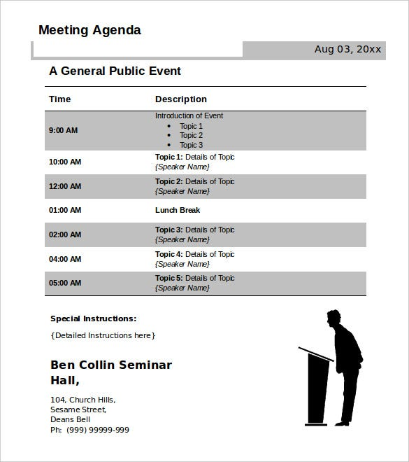 Meeting Agenda Template 29 Free Word PDF Documents Download – Free Agenda Templates