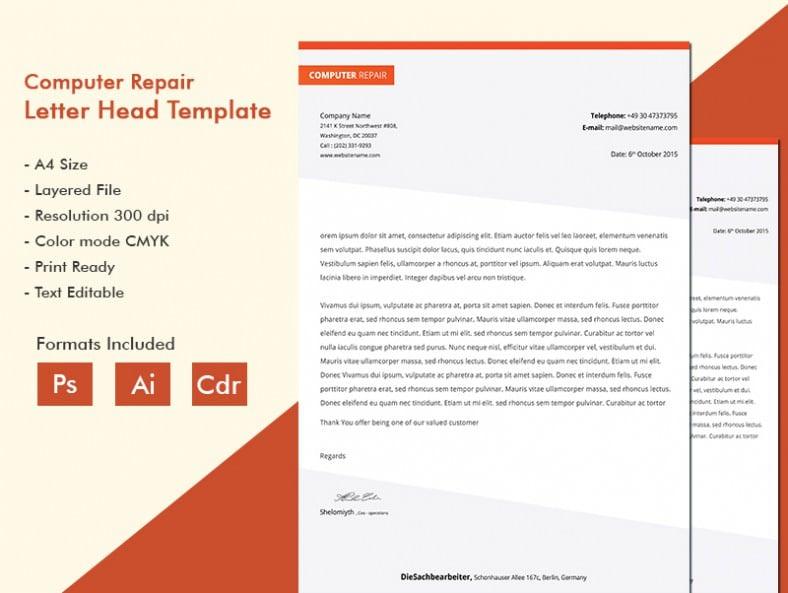 Glittering Computer Repair A4 Letterhead Template
