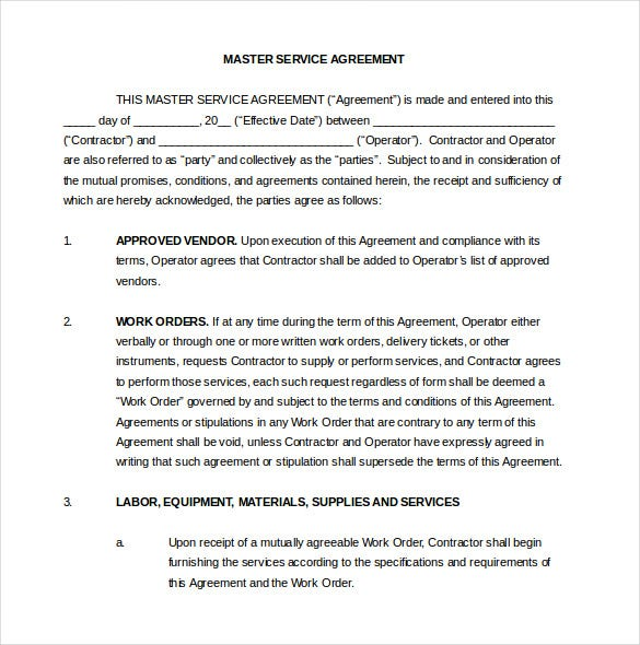 Contract Agreement Template   Free Word  Document Download