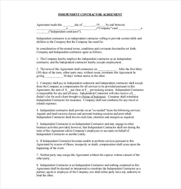 Independent Contract Agreement Template PDF Format
