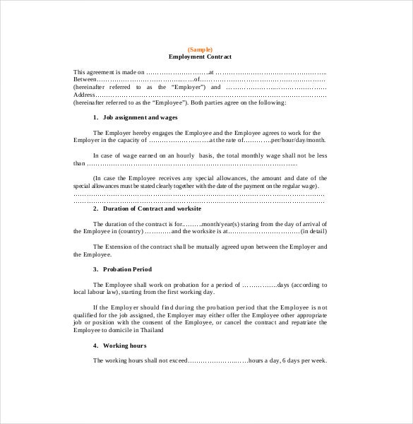 Contract agreement template 19 free word pdf document for Terms of employment contract template
