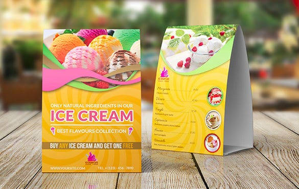 design ice cream table tent template