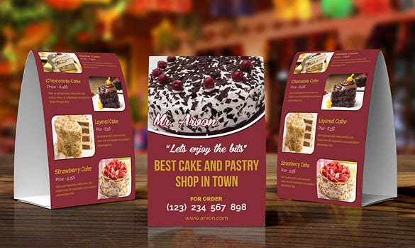 cake pastry table tent template