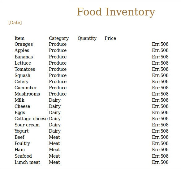food inventory free download excel