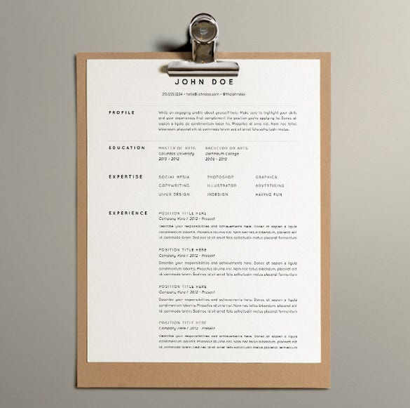 microsoft word and apple pages formats one page resume