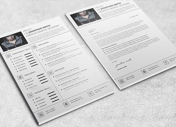 one page resume template with cover letter