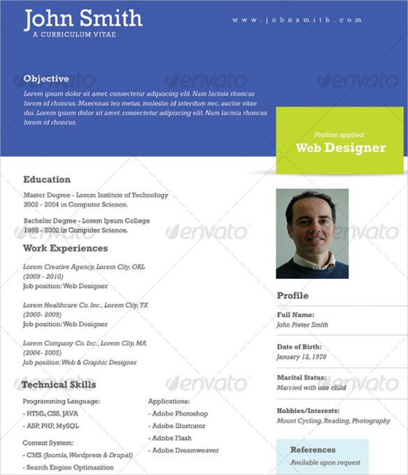 One Page Cv Template Free  BesikEightyCo