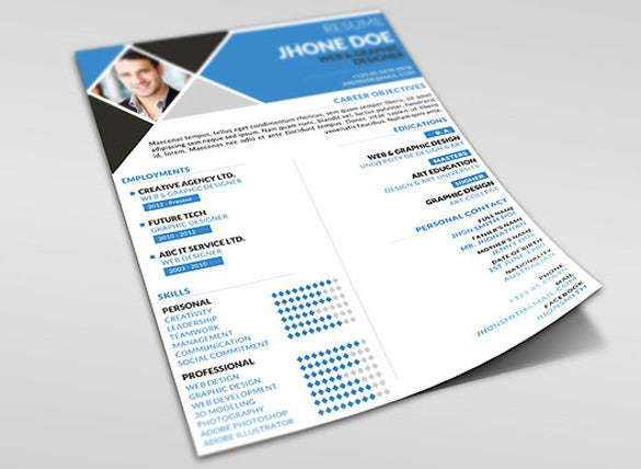 minimal one page resume template instant download
